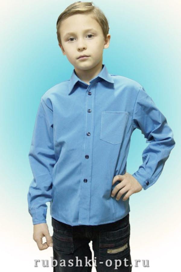 Рубашка детская для мальчиков,  длинный рукав, 1 карман