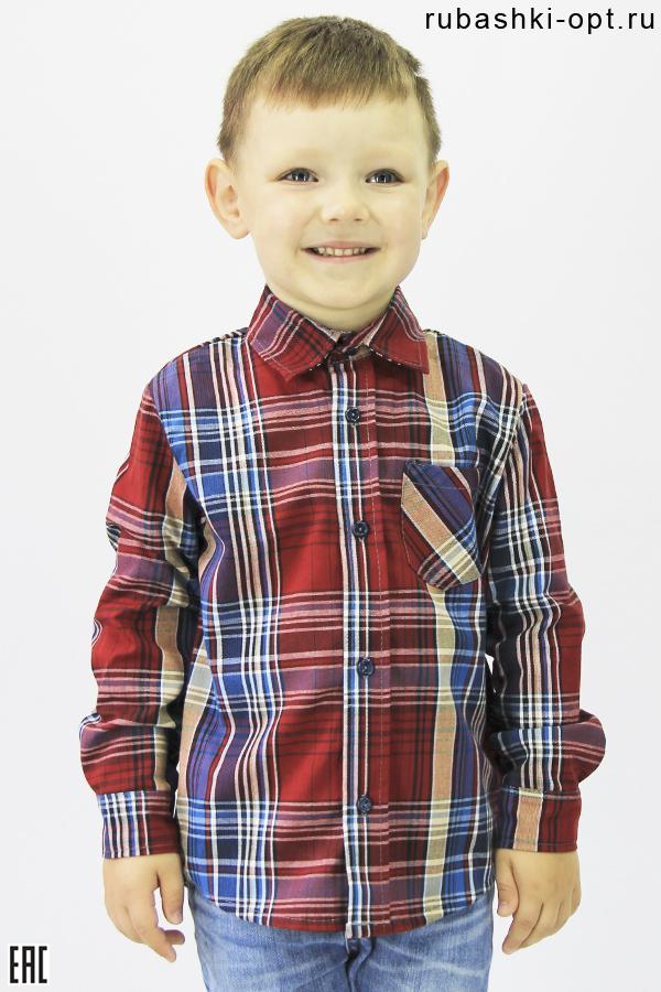 Рубашка детская с длинным рукавом, шотландка