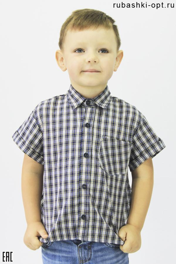Рубашка детская с коротким рукавом, шотландка