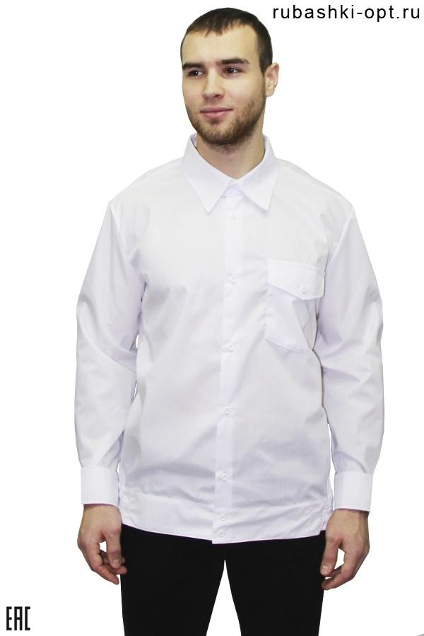 Рубашка охранника длинный рукав, на поясе, белого цвета