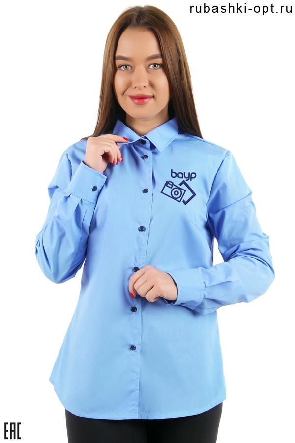 Рубашка женская корпоративная гладкокрашенная голубая