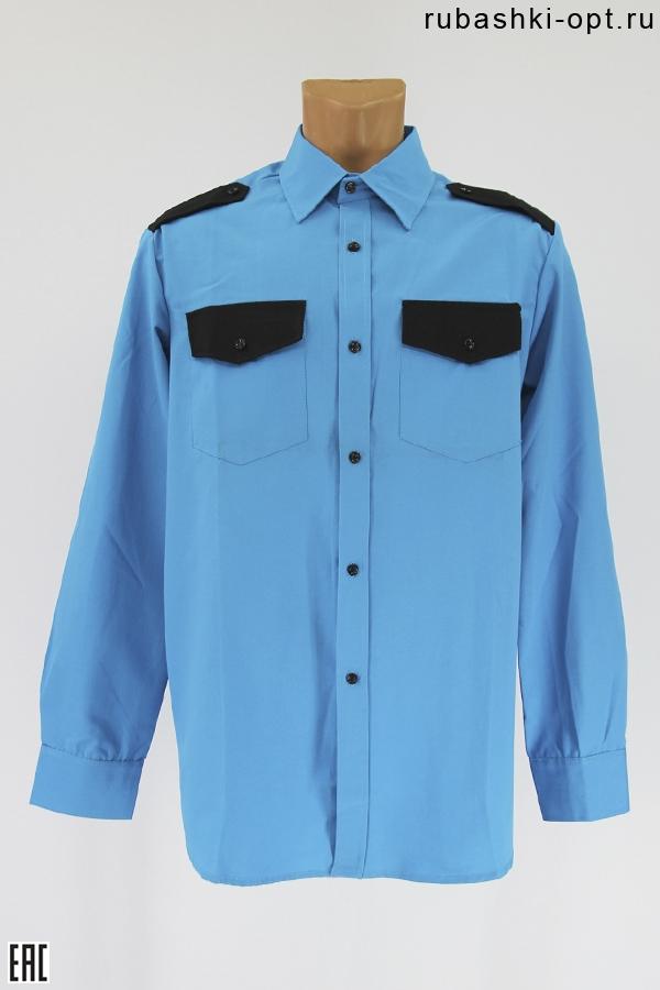 Рубашка охранника длинный рукав, бирюза